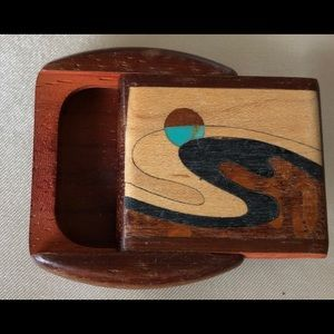 Other - Small inlaid wood pill box